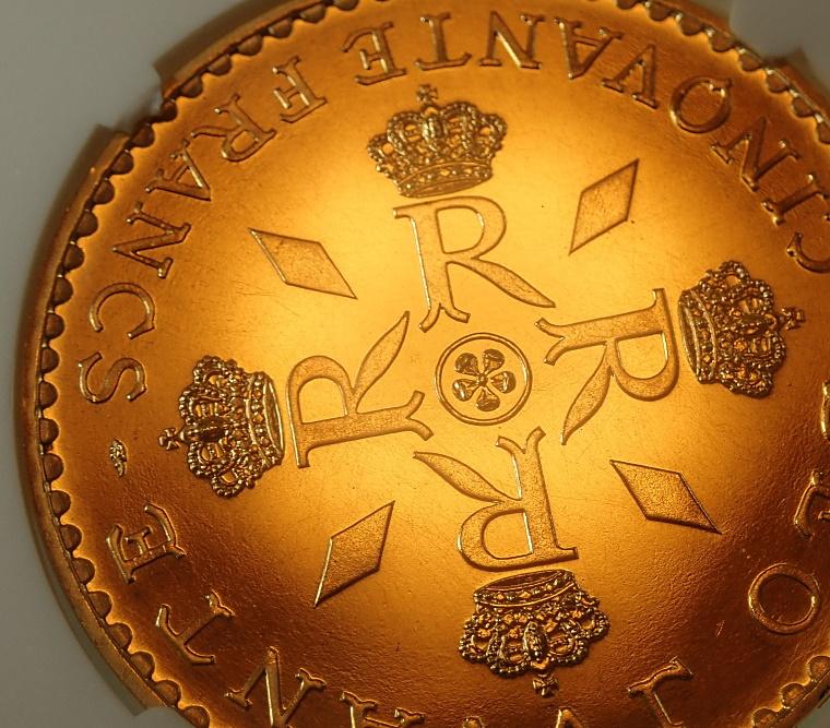 モナコで1974年に発行された50フラン、レーニエ3世在位25周年記念金貨、KM-E67