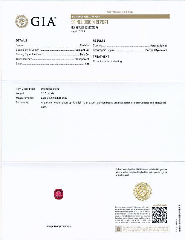 ミャンマー産、無処理レッドスピネル1.15Ct最高色(GIA鑑別書付き)