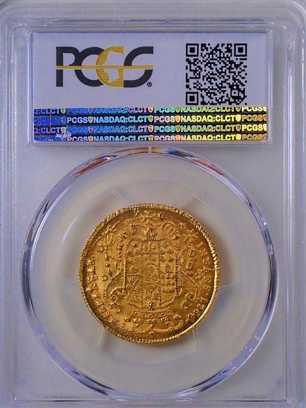 イタリアのナポリ・シシリー王国で1766年に発行された6ドゥカティ金貨、KM-167