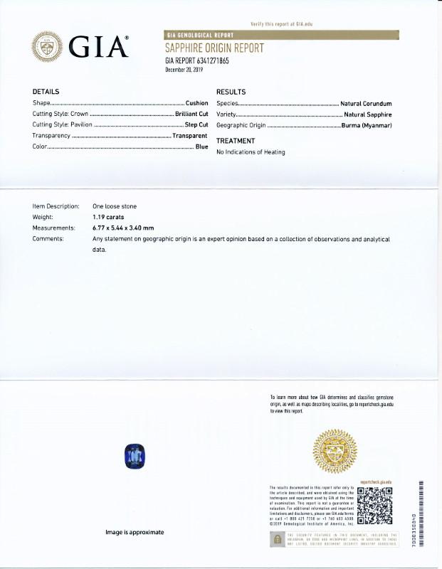 ミャンマー産、非加熱ブルー・サファイア<1.19カラット>