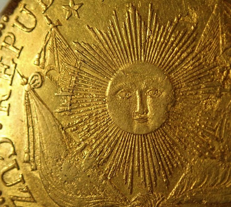 南ペルー8エスクード、1838年クスコ鋳、KM-171