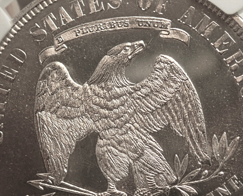 アメリカで1875年に発行されたトレード・ダラーのプルーフ貨、KM-108