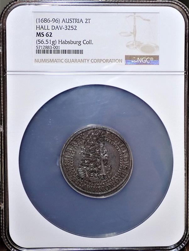 オーストリアで1686年に発行されたレオポルト1世の2ターレル、KM-1338ハル鋳