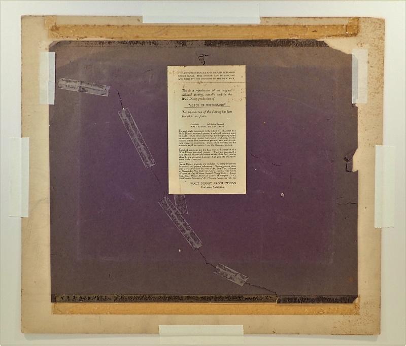 ウォルト・ディズニー直筆サイン入り「不思議の国のアリス」ダイトランスファー画