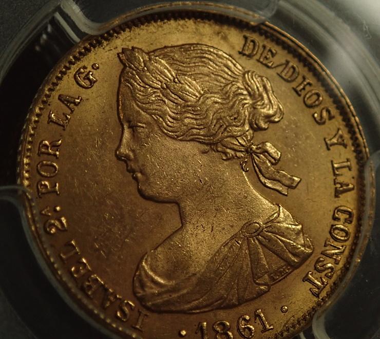スペインのイザベラ2世時代、1861年に発行された100レアル金貨、KM-605.3