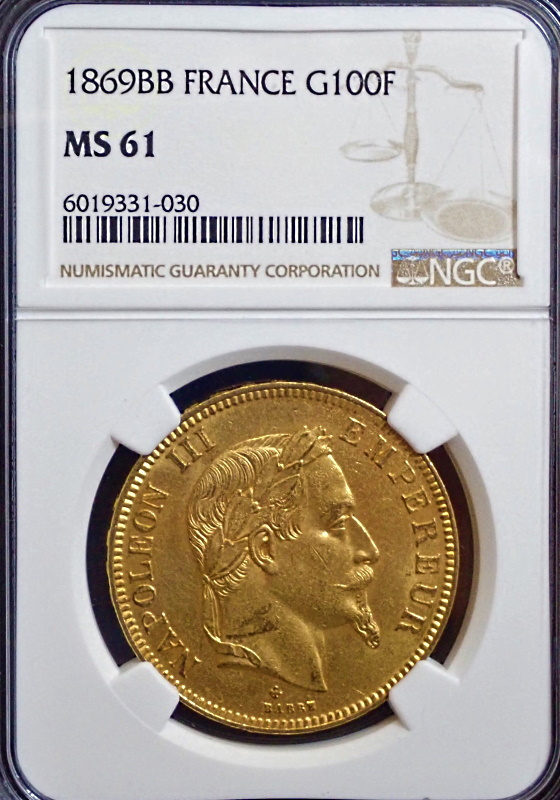 ナポレオン100フラン、1869年BB(ストラスブール鋳)