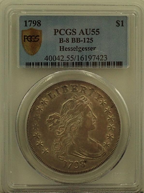 アメリカで1798年に発行された初期1ドル銀貨、希少銘柄(Rarity-2/注)希少な状態