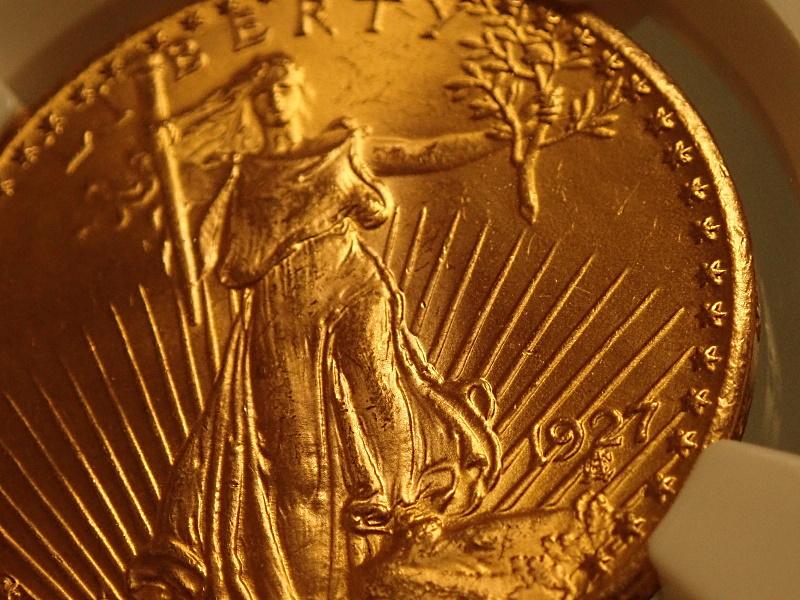 1927年発行、アメリカ20ドル金貨、1000枚に一枚の希少な状態