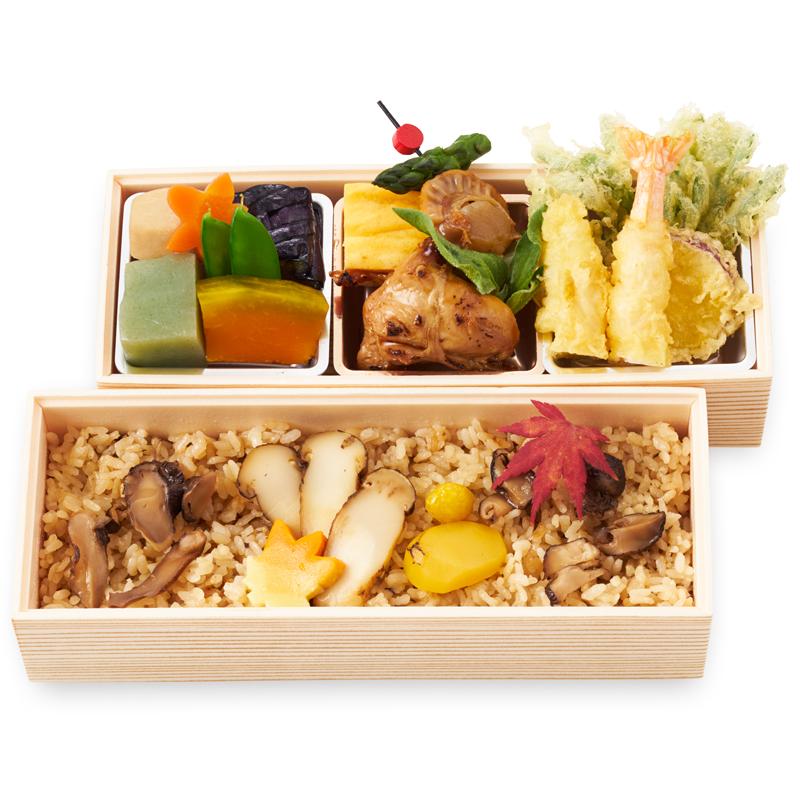 (仕出し弁当)松茸御飯二段弁当/まつたけごはんにだんべんとう【秋季限定】