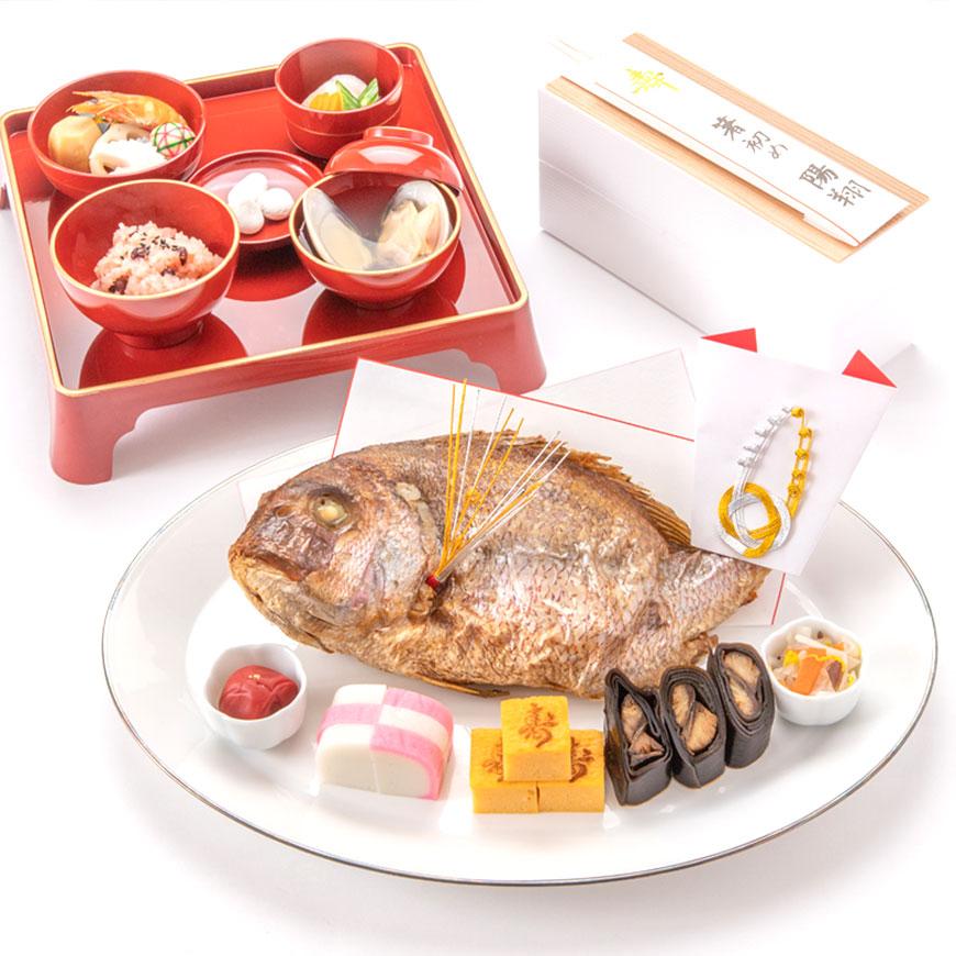 (通信販売)お食い初め【大きな鯛の料理セット│レンタル食器付き】これがあればお食い初めが出来ます。(お食い初めの解説書付)大鯛姿焼きと儀式の料理、歯固めの石付セット。百日祝い│鯛めしレシピ付。