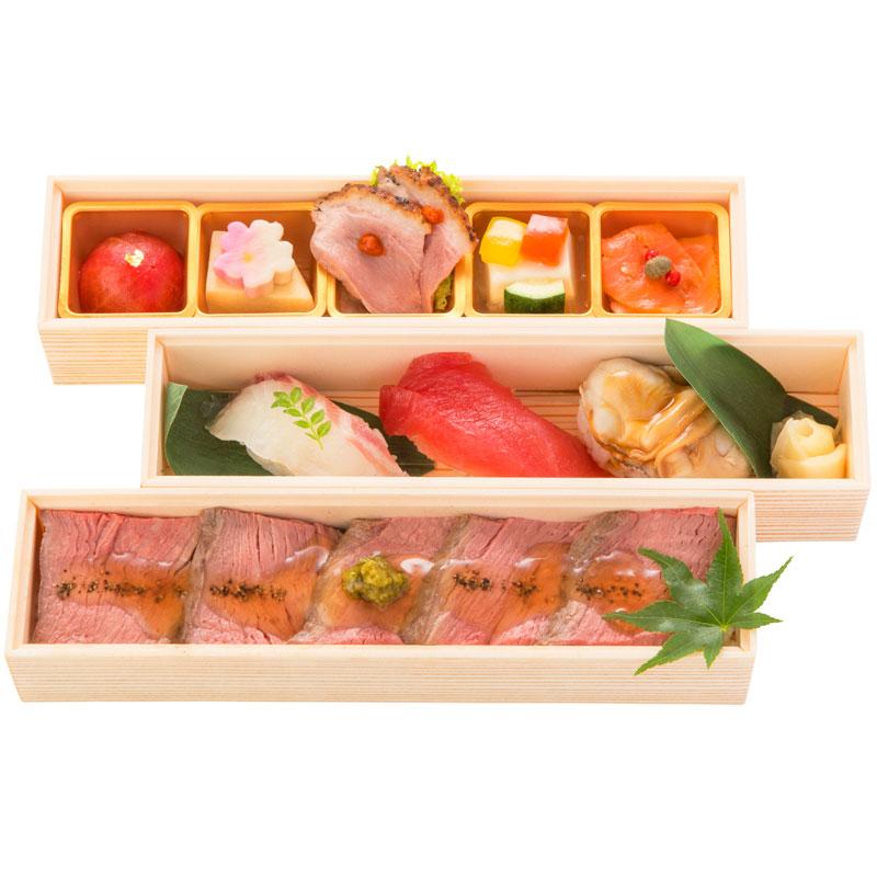 (仕出し弁当)文箱弁当│ローストビーフ丼&にぎり寿司