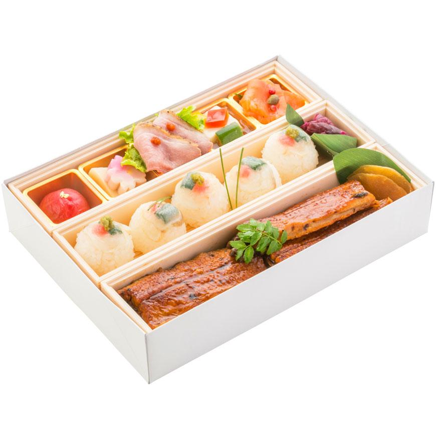 (仕出し弁当)文箱BOX(うな丼&虎ふぐ手毬)