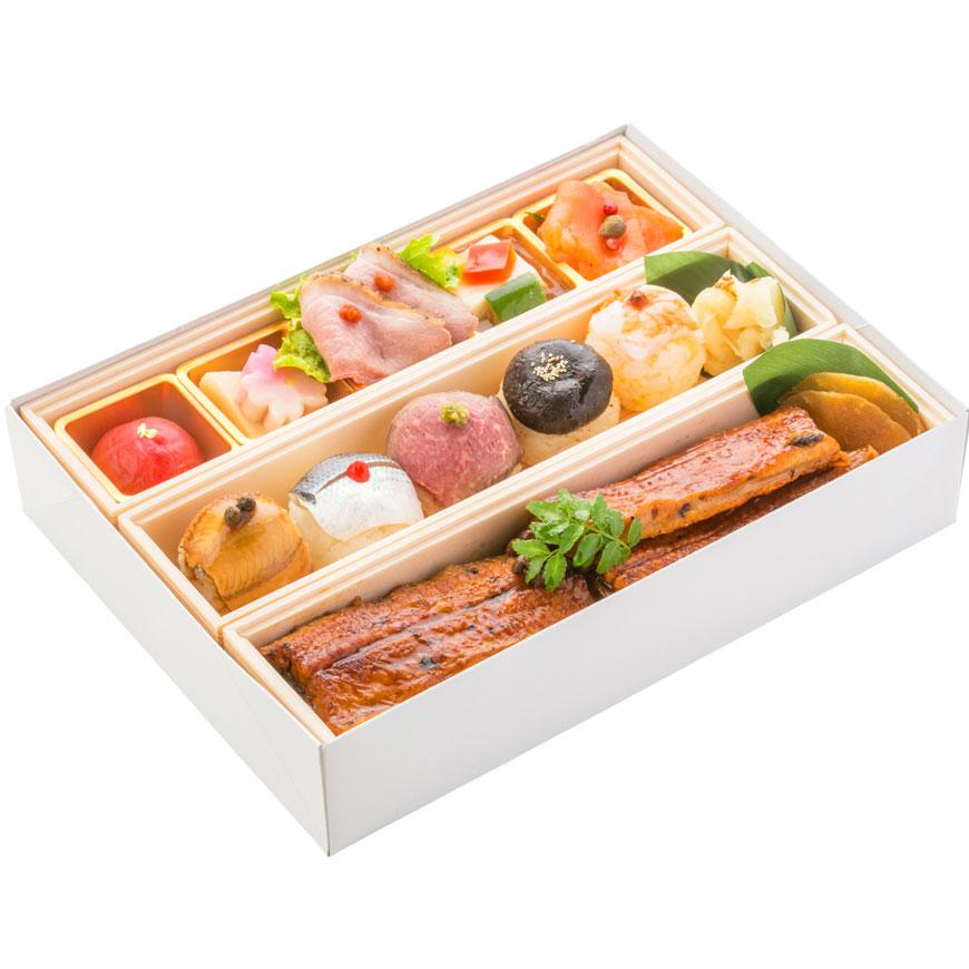 (仕出し弁当)文箱BOX(うな丼&手毬寿司)