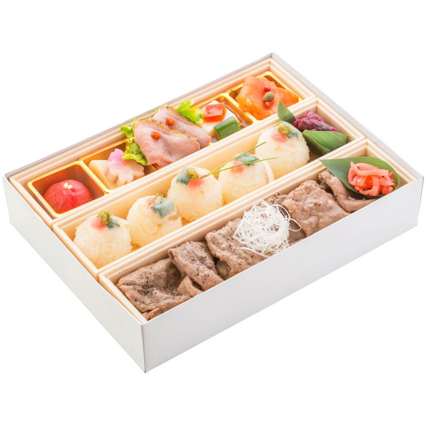 (仕出し弁当)文箱BOX(虎ふぐ手毬寿司&牛肉焼丼)