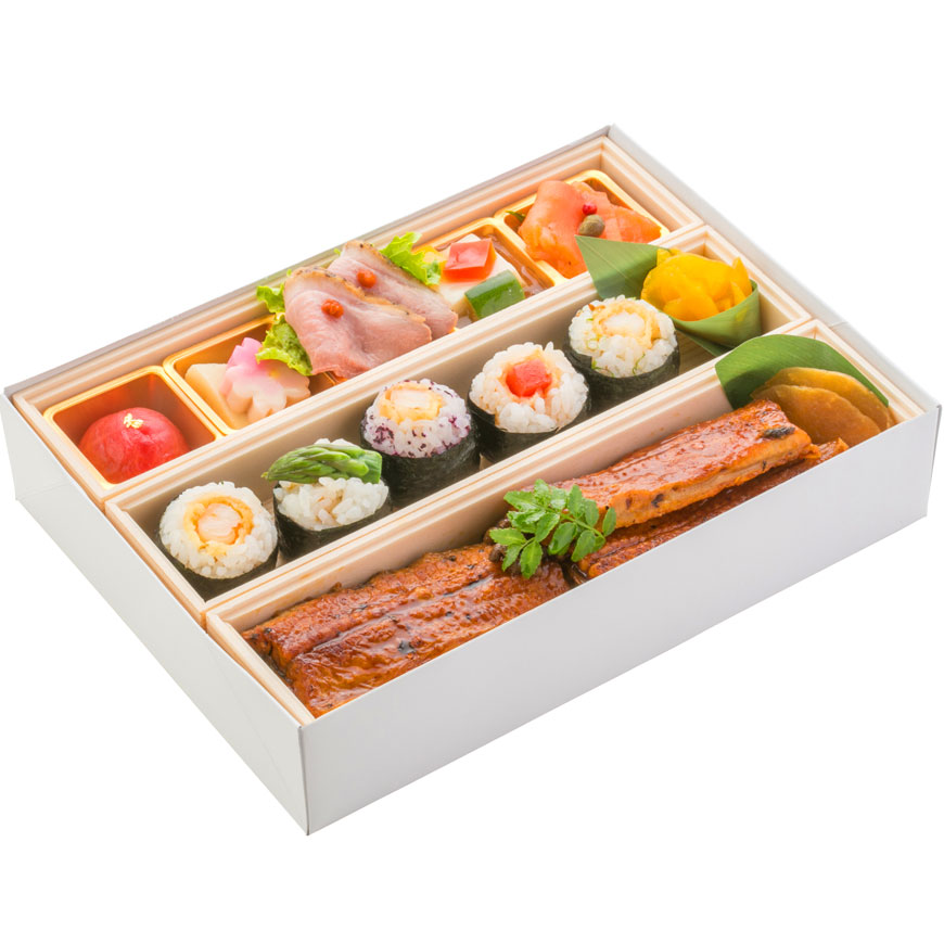 (仕出し弁当)文箱BOX(うな丼&手毬天むす)