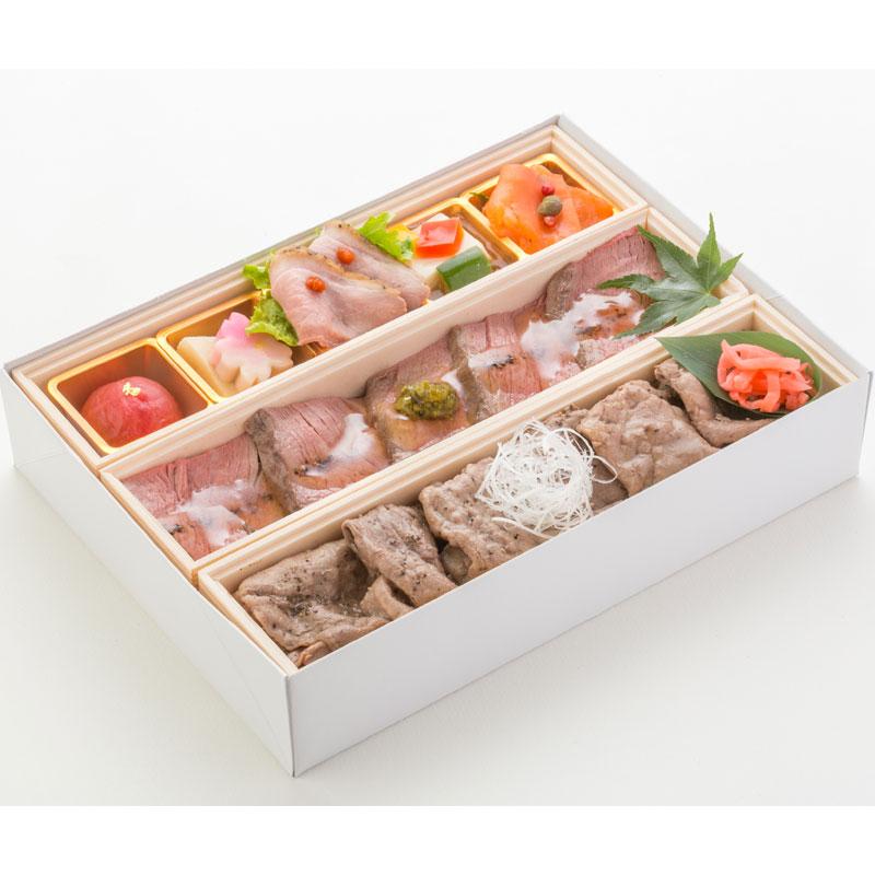 (仕出し弁当)文箱BOXダブル牛(ローストビーフ丼&牛肉焼丼)