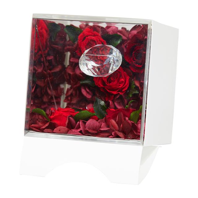 ジュエル・アリス ブラック & ホワイト のプレゼントに プリザーブドフラワーに輝くダイヤモンド ジュエリー お彼岸 敬老の日 贈答