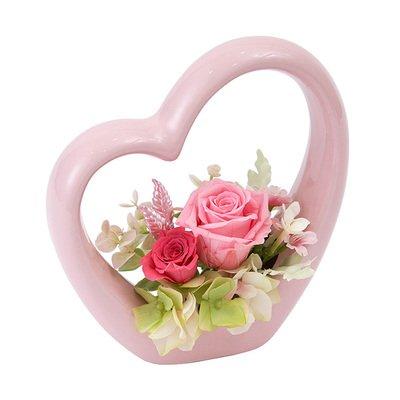 【モンクール】プリザーブドフラワー かわいい プリザーブドフラワー ギフト 新色入荷 選べる花色 ハートがかわいい陶器の器 プラスチックケース入り 送料別 母の日 早割