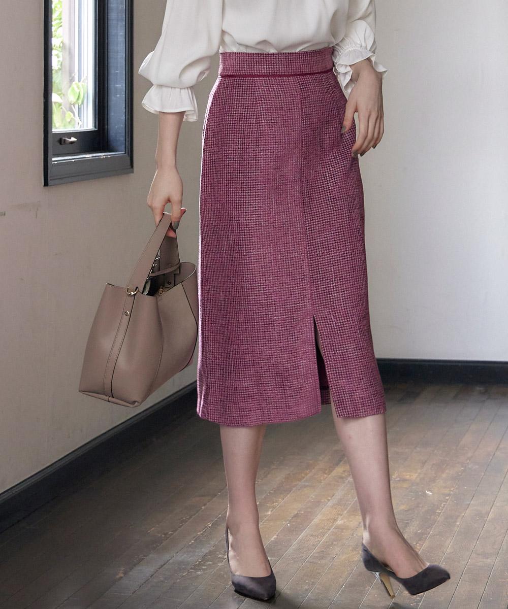 ツイード風前スリットタイトスカート