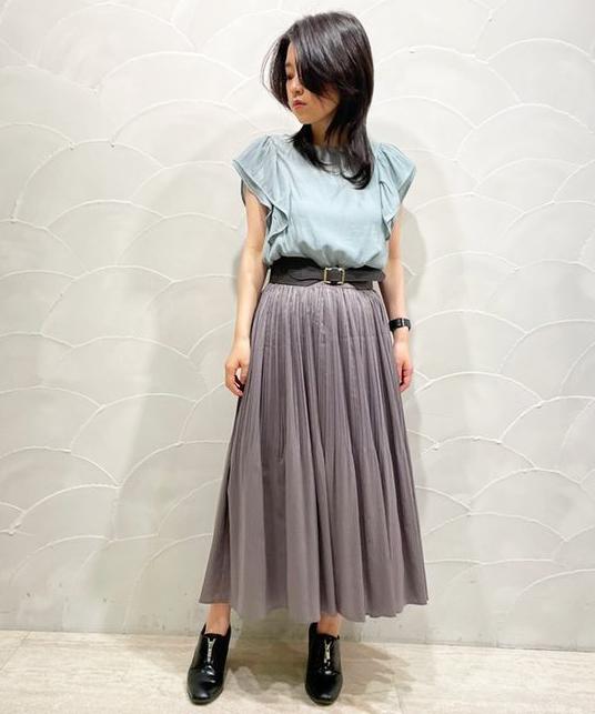 【SALE】シアーストライプワッシャープリーツスカート