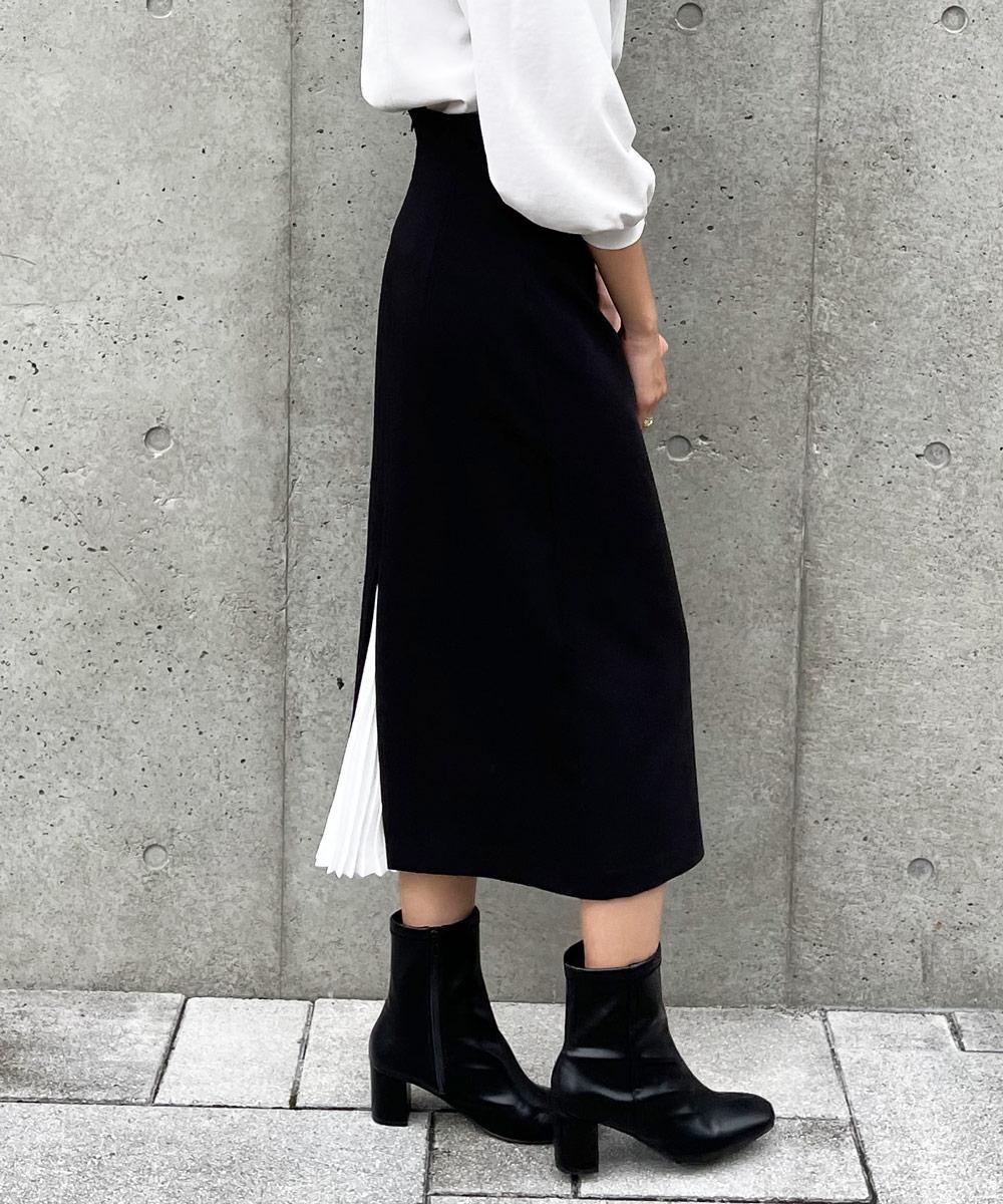 バックプリーツハイウエストナロースカート