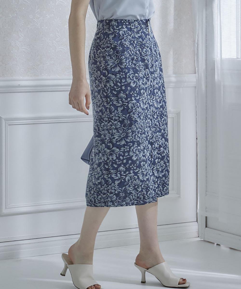 ゴブラン調ジャガードタイトスカート