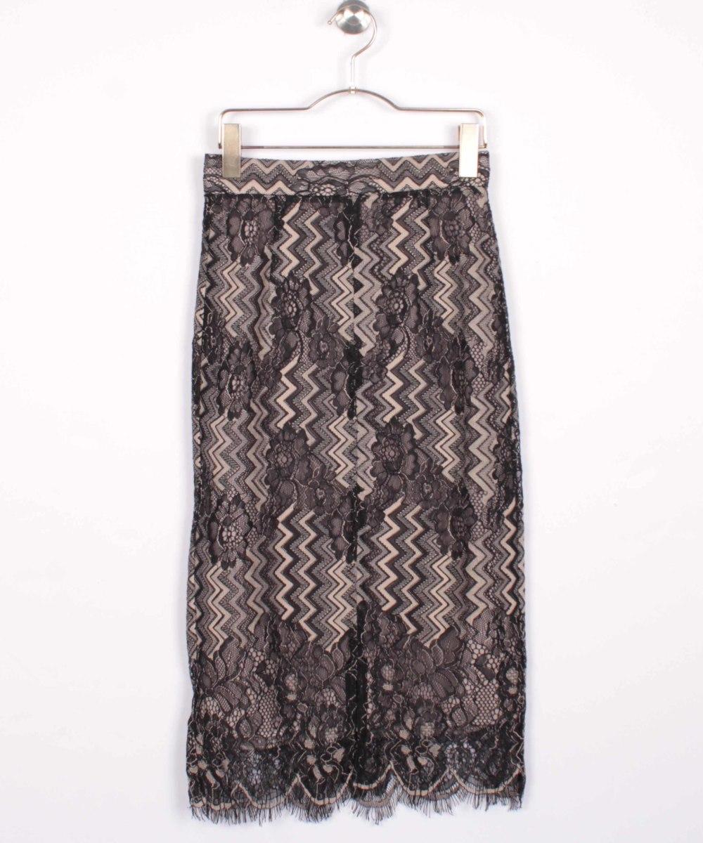 スカラップ配色レースタイトスカート