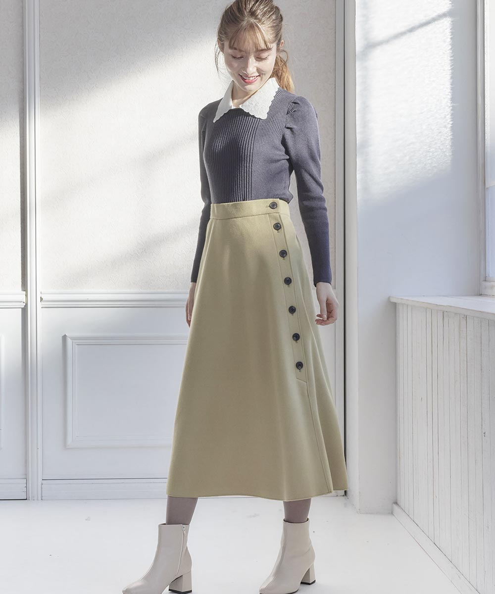 刺繍衿付きニットプルオーバー