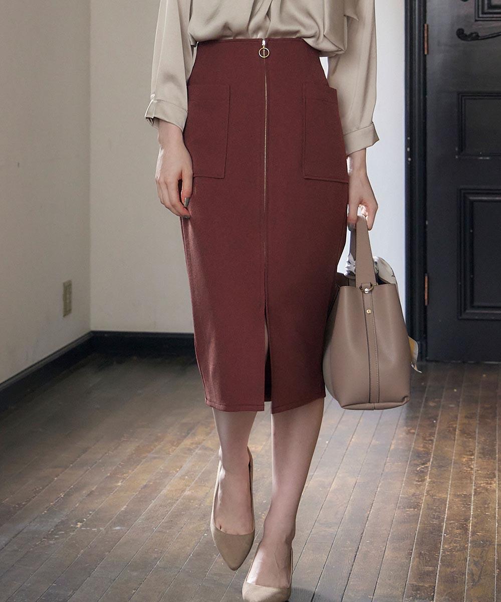 両ポケフロントファスナータイトスカート