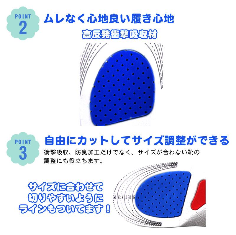 インソール 靴中敷き 2足セット(4枚)【メール便送料無料】サイズ調整可 <br>かかとにエアークッション 衝撃吸収 防臭加工 ブーツ スニーカー レインブーツ ビジネスシューズ 革靴 ウォーキングシューズに気持ちいいシューズクッションインソールです