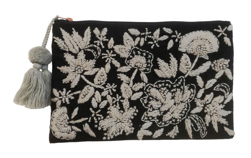 フラワー刺繍ポーチL(2カラー) M26-1342