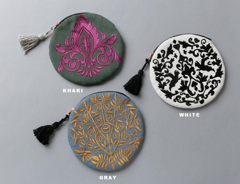 刺繍ラウンドポーチ(3カラー) M26-1343