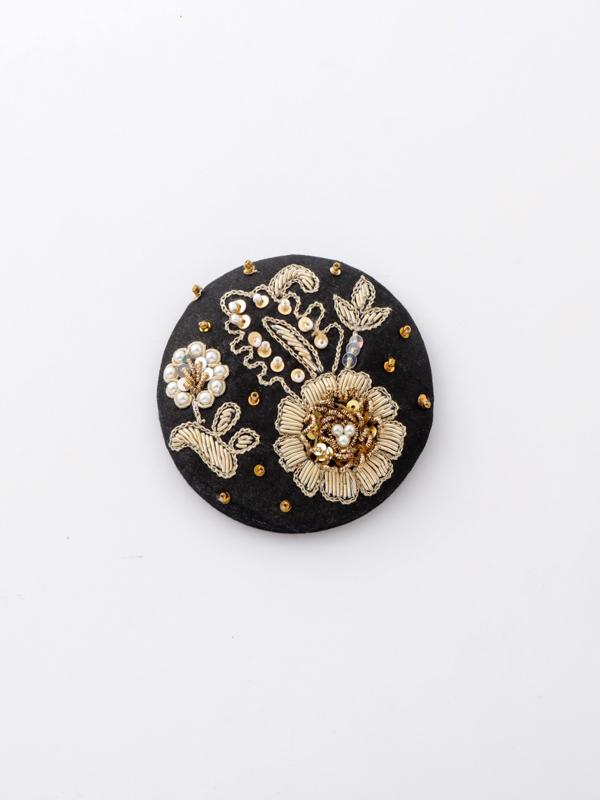 ザリ&ビーズ刺繍ミラー(2カラー) M42-1687