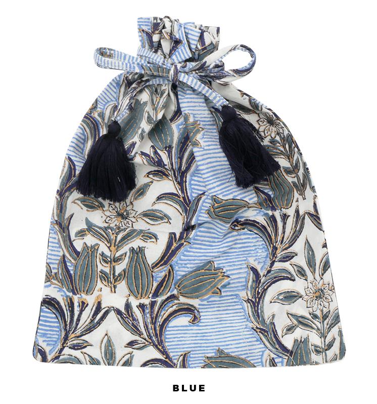 ブロックプリント巾着(4カラー) M20-1705