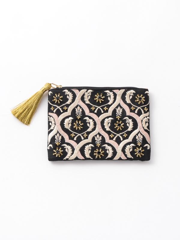 ビーズ刺繍フラットポーチ(3カラー) M42-1803