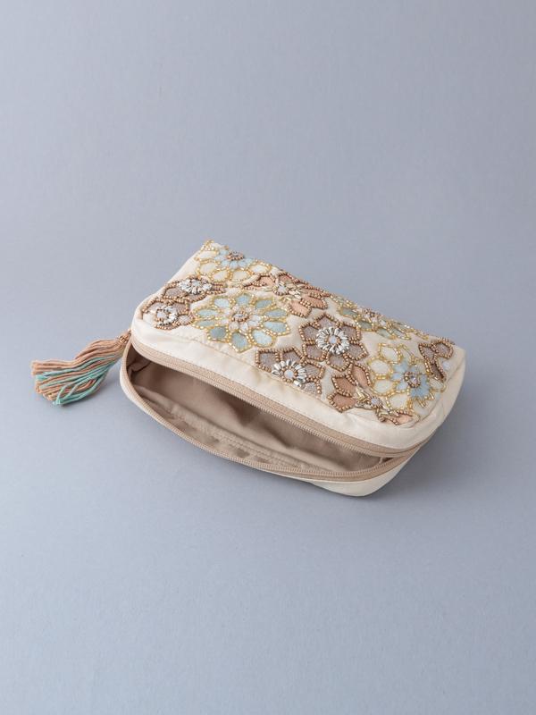 ビーズ刺繍ポーチ(3カラー) M42-0863