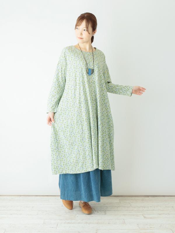 ブロックプリントスラブ天竺・ワンピース(3カラー)21W030