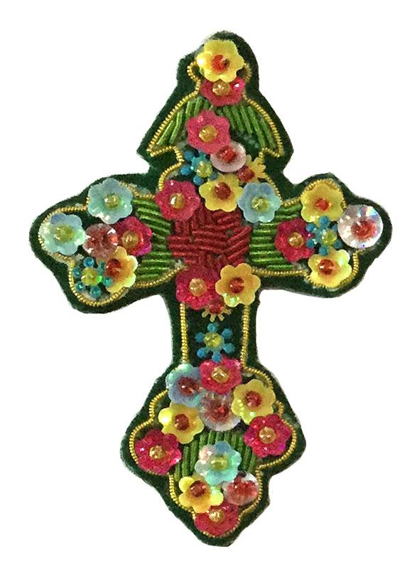 ザリ刺繍ブローチ(クロス) M21-1110