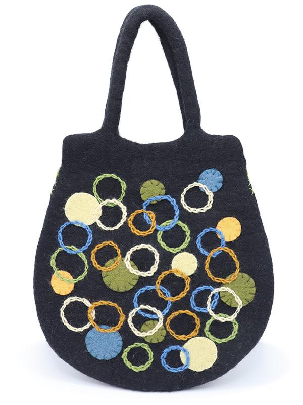 サークル刺繍フェルト卵型バッグ (3カラー) H21W001