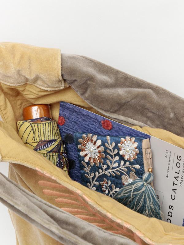 コットンベロア刺繍バッグ (3カラー) H21W009