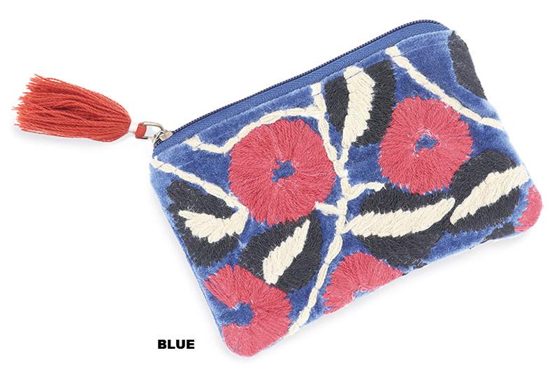 コットンベロア刺繍フラットポーチ(6カラー)F20W005