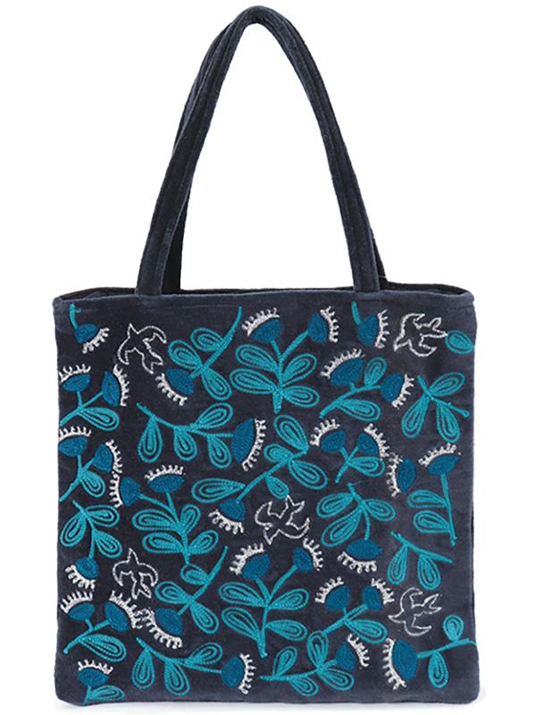 コットンベロア刺繍フラットバッグ (4カラー) H21W008