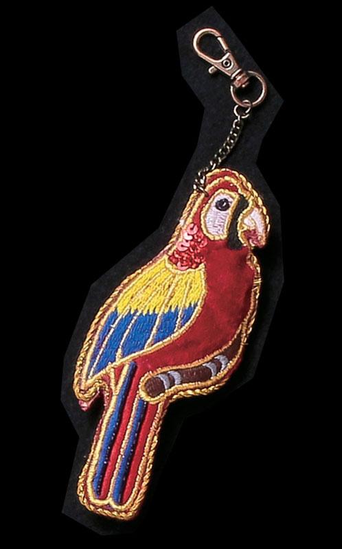 ザリ刺繍キーホルダー(オウム) M21-0945