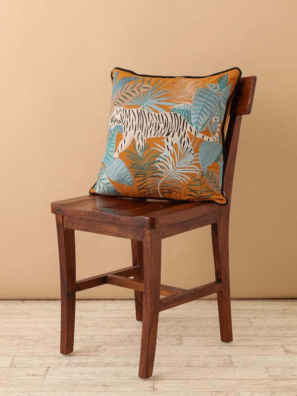 タイガー刺繍クッションカバー(オレンジ) M26-1787OR