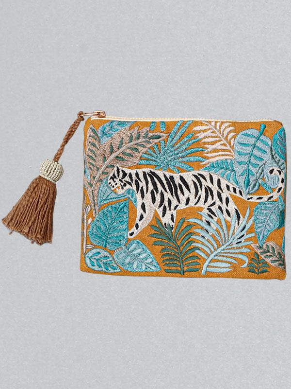 タイガー刺繍ポーチ(オレンジ) M26-1783OR