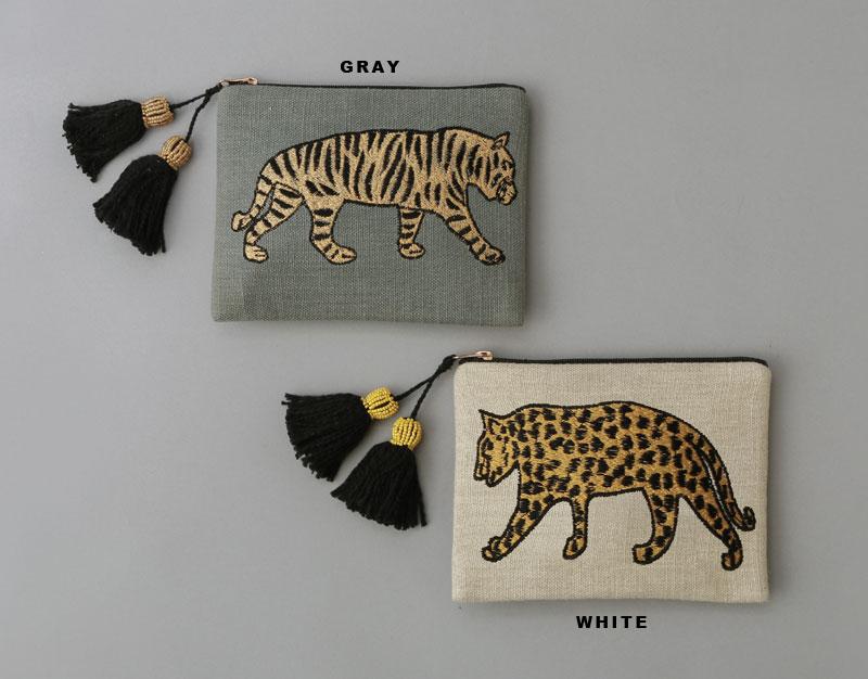 刺繍ポーチL (タイガー/グレー) M26-1458GY