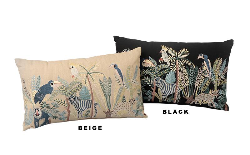 ジャングル刺繍レクタングルクッション(2カラー) M26-1651