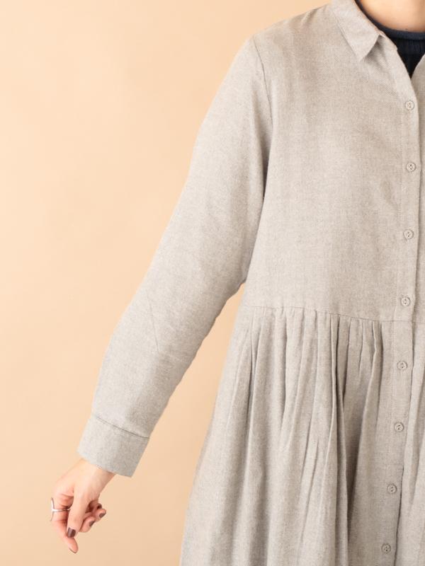 起毛シャンブレー・無地シャツワンピース(3カラー)21W060