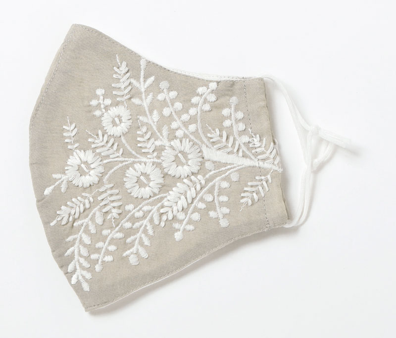 コットンフラワー刺繍マスク(5カラー) F21S001