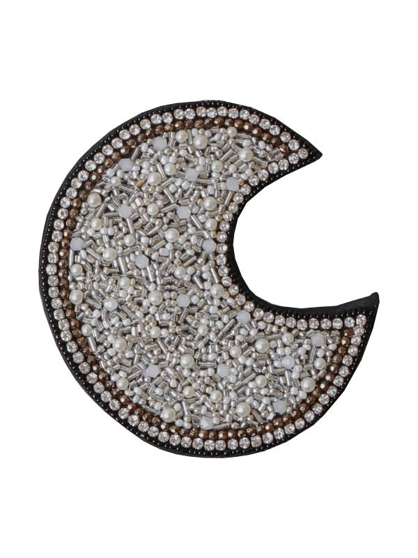 ビーズ刺繍ハンドミラー(月) M42-1719C